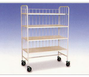 ALLOYMED LINEN TRANSPORT TROLLEY W/4 SHELVES EPC