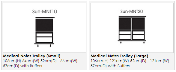 Sunflower Dimensions Sun-MNT Medical Notes Trolley